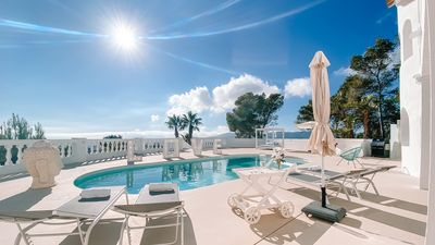 Photo for NEW Adorable Panorama Ocean view Villa Multicolor LED Pool 10-12 PAX  Ibiza Town