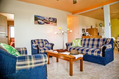 Comfortable couches in roomy living room