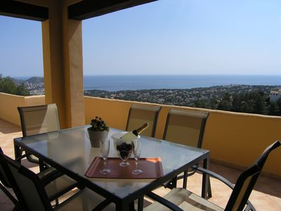Photo for STUNNING SEA VIEW, QUIET, REALLY SUNNY, SMALL COMPLEX SHARED POOL, WIFI, UK TV