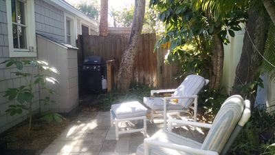 Rear patio and barbeque grille.