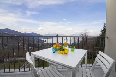 Private balcony with an amazing view of the lake