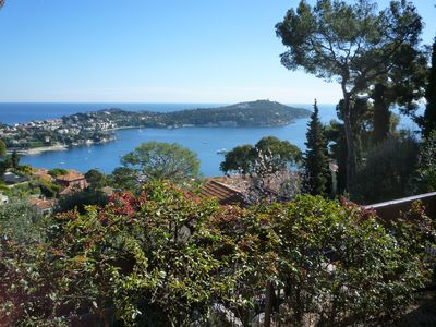 View from terrace over Villefranche sur Mer and Cap Ferrat in distance
