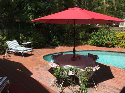 The heated salt pool and the tropical private court yard.