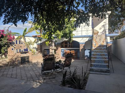 Our Courtyard Showing the two apartments. This listing is for downstairs