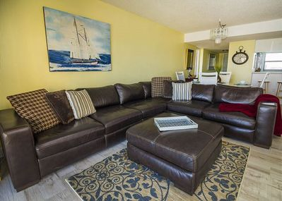 LARGE LEATHER SECTIONAL IN LIVING AREA