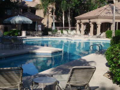 Main pool and hot tub in complex