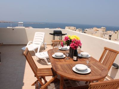Photo for GetawaysMalta - Seashells Superior with 2 terraces, sea view and Hot Tub Jacuzzi