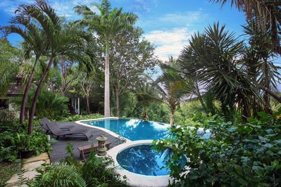 deep and shallow pool in landscaped gardens