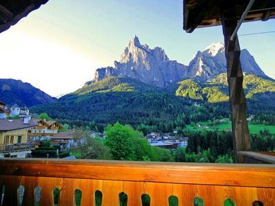 ....on our balcony you have a great view of the Dolomites and enjoy the sun and peace!