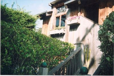 Front entry to beautiful redwood home