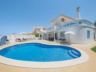Photo for Blue + white villa w/air con, Wi-Fi, private pool, terrace + BBQ