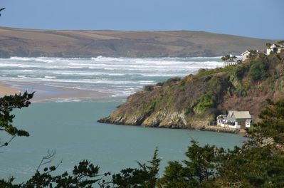 View from Master Bedroom to Crantock Beach and ferry crossing.
