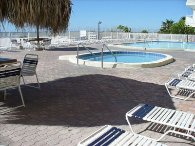 Sand Dollar Pool and Whirlpool Spa over looking the Beach