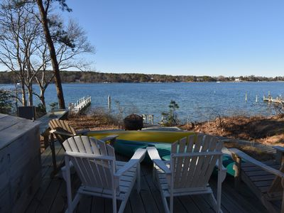 Enjoy this prime waterfront location with private beach, dock, and great sunsets