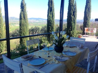Photo for Apartment Margherita. Quiet farmhouse. Stunning views of Tuscany