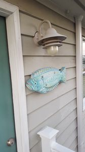 Holy Flounder greeting you at the front door