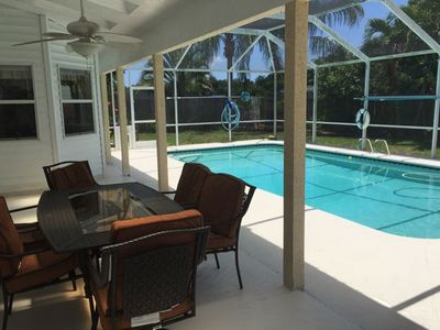 Private screened patio and pool for volleyball!