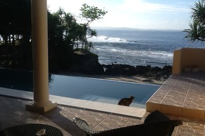 Infinity Pool overlooking beach and bay from loggia off main casa