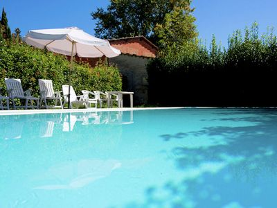 Photo for Apartment in a large garden with pool on the hills of Pisa