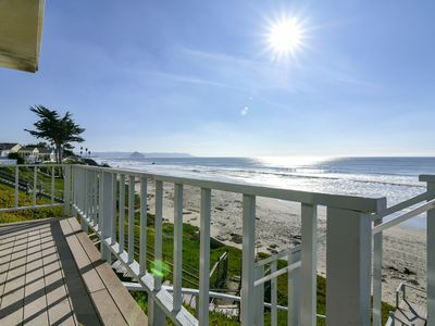 Photo for Classic Oceanfront Cayucos Home with Ocean Facing Deck and Direct Beach Access