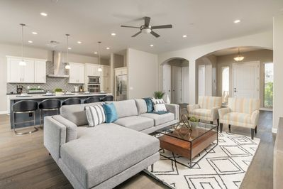 Bright, open Living room/kitchen area