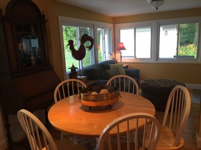 View from dinning area into additional living space or sun room.