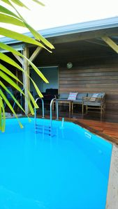 Photo for Comfortable bungalow, sea view with private pool