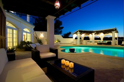 Pool terrace in the evening