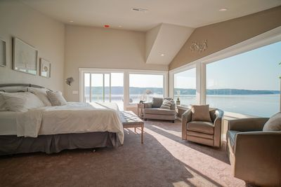 Photo taken from entrance into Master Suite . Super comfy King bed with view