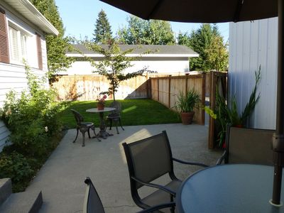 2 patio sets on back yard patio--fully fenced ack and side yard