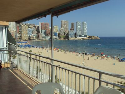 Photo for 5th floor Beach front apartment outstanding views out to sea and Benidorm island