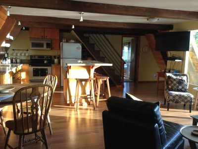 Ravens roost upper cedar a frame cabin di vrbo view from front door kitchen dining and living area sciox Images