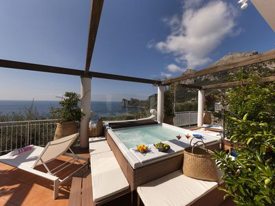 Photo for Villa Giove with Private Swimming Pool, Sea View, Jacuzzi and Breakfast, Near the Sea