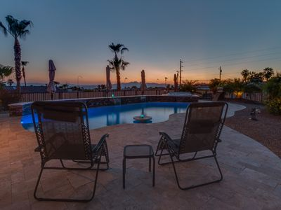 Photo for Desert Retreat with Sparkling Pool and Lake Views from the Deck