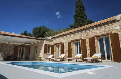 Photo for Villa Cleo Paralia is a new three-bedroom villa with amazing sea views, two bathrooms, a big living-