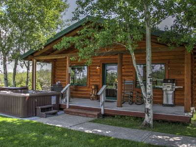 Photo for Breathtaking views in this cozy cabin.  Perfect for you and a friend or two, WiFi, hot tub and ready