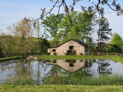 The backyard pond and rustic old barn. This is the view from the back deck.