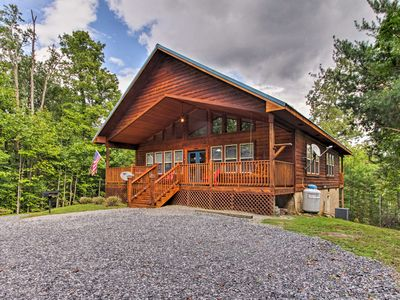 Photo for NEW! Rustic Smoky Mtn Cabin w/Hot Tub & Deck Views