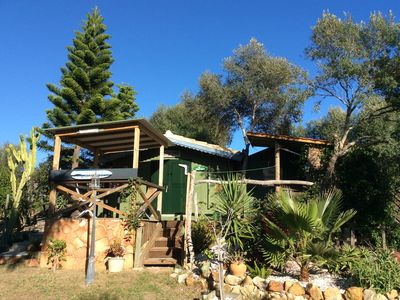 Photo for Self-catering chalets, sea views, walk to beaches. BBQs, hammocks, loungers.