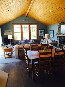 Beautiful great room with knotty pine vaulted ceilings