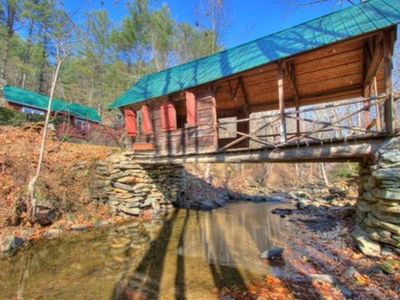 Photo for Non Smokers/RiversEdge Covered Bridge Cottage/Fireplace /Hot Tub/ Fire Pit