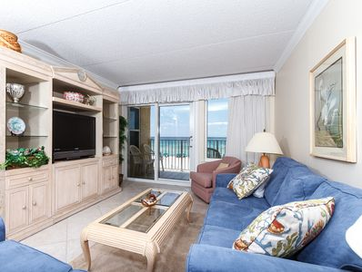 New flat screen TV and a great beachfront view - both for your v - New flat screen TV and a great beachfront view - both for your viewing pleasure! Also new sofa and love seat in the living room added in June 2014! Sofa is a queen size sleeper.