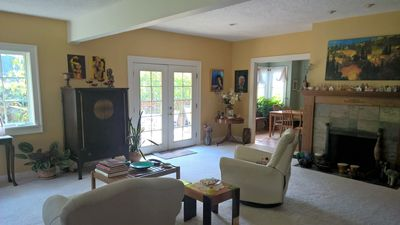 Living Room from entry way looking to French doors to deck.