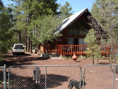 Photo for Cozy ' Lodge-Style' Rustic Cabin-Completely Fenced with doggie door!