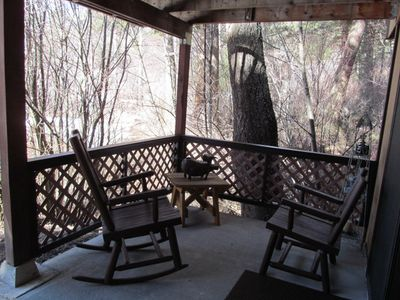 Private covered patio overlooking the creek.