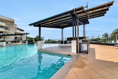 Magnificent pool and BBQ area outside our terrace