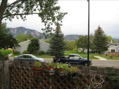 View of the Flatirons from dining room & patio