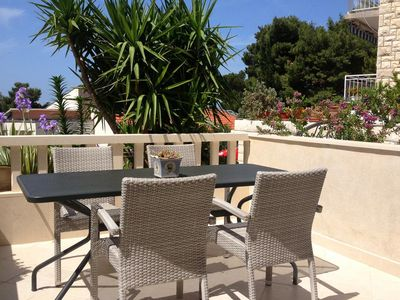 Photo for Two bedroom apartment with terrace and sea view Drašnice (Makarska)