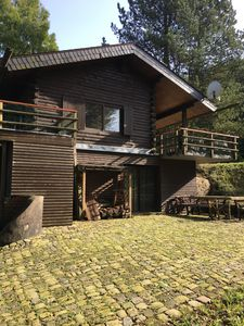 Photo for Rustic-romantic log cabin in the middle of the forest of the Rhenish-Bergisches Land
