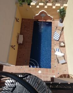 Pool in its very private patio.  Spiral stairs to sun terrace.